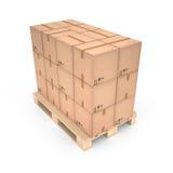 Cajas de cartón en la plataforma de madera y x28; 3d illustration& x29; Foto de archivo