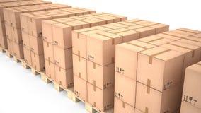 Cajas de cartón en las plataformas de madera y x28; 3d illustration& x29; Imagen de archivo libre de regalías