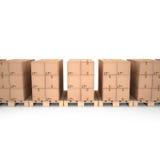 Cajas de cartón en las plataformas de madera y x28; 3d illustration& x29; Foto de archivo