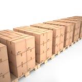 Cajas de cartón en las plataformas de madera y x28; 3d illustration& x29; Fotografía de archivo libre de regalías