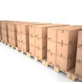 Cajas de cartón en las plataformas de madera y x28; 3d illustration& x29; Fotos de archivo libres de regalías