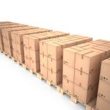 Cajas de cartón en las plataformas de madera y x28; 3d illustration& x29; Imagenes de archivo