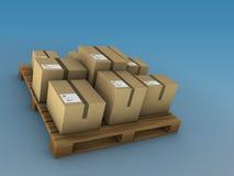 Cajas de cartón en una paleta Fotos de archivo libres de regalías