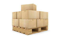 Cajas de cartón en una plataforma Foto de archivo libre de regalías