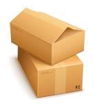 Cajas de cartón para el reparto del correo Fotografía de archivo libre de regalías
