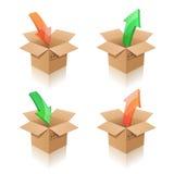 Cajas de cartón. Pila de discos, desempaquetando Ilustración del Vector