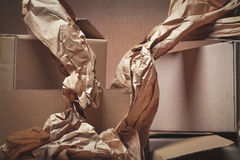 Cajas de cartón usadas Imagen de archivo