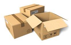 Cajas de cartón Fotografía de archivo libre de regalías
