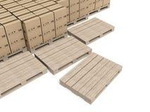 Cajas de cartón en los paletts de madera, almacén Foto de archivo