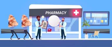 Cajas de control del doctor In Pharmacy Store del farmacéutico con las drogas y concepto moderno de la tienda de la droguería del libre illustration