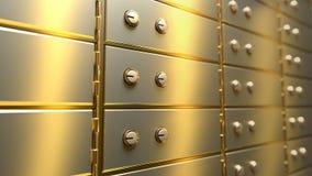 Cajas de depósito seguro de oro en un cuarto de la cámara acorazada de banco, lazo inconsútil metrajes