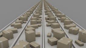 Cajas de diverso tamaño en transportadores, opinión de perspectiva simétrica Cgi Foto de archivo