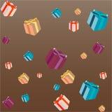 Cajas de Gits en fondo marrón stock de ilustración