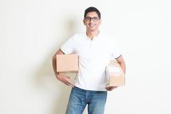 Cajas de la entrega del mensajero Fotografía de archivo