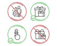 Cajas de la entrega, golpe fuerte para arriba y sistema de los iconos del empleado Muestra del paquete de la sorpresa Vector ilustración del vector