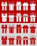Cajas de la Navidad con los modelos Fotografía de archivo libre de regalías