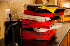 Cajas de la pizza Imagen de archivo libre de regalías
