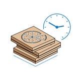 Cajas de la pizza con el reloj en el fondo blanco Foto de archivo libre de regalías