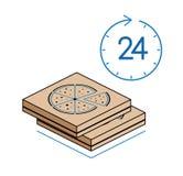 Cajas de la pizza con el reloj en el fondo blanco Imagen de archivo libre de regalías