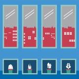 Cajas de la planta de tiesto debajo de cuatro vidrios de Windows Imágenes de archivo libres de regalías