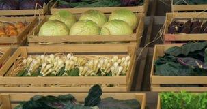 Cajas de las verduras almacen de metraje de vídeo