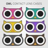 Cajas de lente coloridas de contacto del búho Imagen de archivo libre de regalías