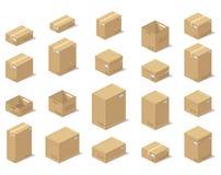 Cajas de los iconos 3d, estilo realista de los gráficos de vector, una visión isométrica ilustración del vector