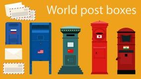 Cajas de los posts del mundo Foto de archivo