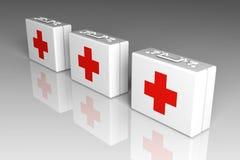 Cajas de los primeros auxilios Imágenes de archivo libres de regalías