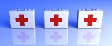 Cajas de los primeros auxilios Fotografía de archivo libre de regalías