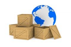Cajas de madera Imagen de archivo libre de regalías