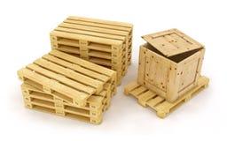Cajas de madera en la paleta de madera fotografía de archivo libre de regalías