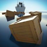 Cajas de madera que flotan sobre el mar/el océano Fotografía de archivo libre de regalías