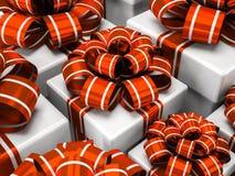 Cajas de regalo con los arcos rojos Fotos de archivo