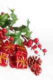 Cajas de regalo con pinecone Foto de archivo