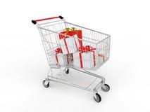 cajas de regalo 3d en carro de la compra ilustración del vector