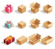 Cajas de regalo de la cartulina abiertas y cerradas iconos isométricos del vector 3D para el infographics de la entrega Foto de archivo