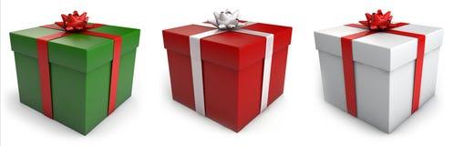 Cajas de regalo de la Navidad stock de ilustración