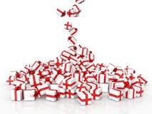 Cajas de regalo de la Navidad que caen Imagenes de archivo