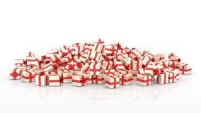 Cajas de regalo de la Navidad que caen Imágenes de archivo libres de regalías