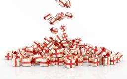 Cajas de regalo de la Navidad que caen Fotografía de archivo