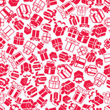 Cajas de regalo de vacaciones fondo inconsútil, vector Fotografía de archivo