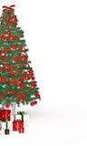 Cajas de regalo debajo del árbol de navidad en blanco Imagen de archivo