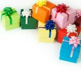 Cajas de regalo del multicolor Imagen de archivo libre de regalías