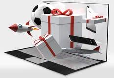 Cajas de regalo de escritorio del ordenador 3d-illustration Foto de archivo