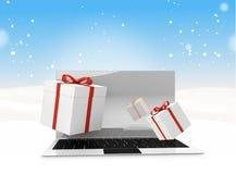 Cajas de regalo de escritorio del ordenador del invierno de la Navidad 3d-illustration Foto de archivo libre de regalías