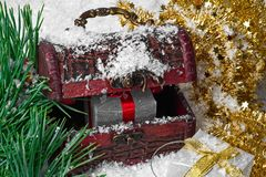 Cajas de regalo de la Navidad de la belleza para la composición del Año Nuevo foto de archivo libre de regalías