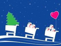 Cajas de regalo de la pizca de los carros de la compra de la Navidad Fotos de archivo libres de regalías