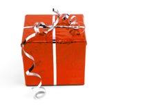 Cajas de regalo rojas de la Navidad en el fondo blanco Fotografía de archivo