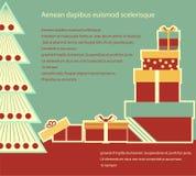 Cajas de regalos de la Navidad. Tarjeta del fondo del vector para t stock de ilustración